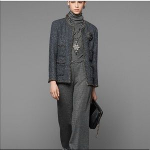 Chanel FR 42 Wide Leg High-Waisted Trousers Wool